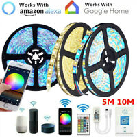 5M 10M RGB RGBW LED Strip Lights Kit Smart WiFi Phone Control Alexa Google Home