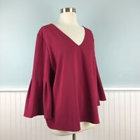 Size XL Ann Taylor 3/4 Bell Sleeve Purple V Neck Top Blouse Shirt Extra Large