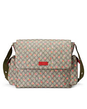 Gucci Strawberry Print GG Canvas Diaper Bag Beige Multicolor Girl Baby Italy New