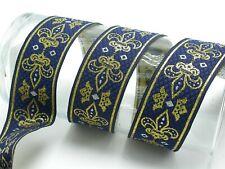 "Jacquard Ribbon 1 1/2"" (38mm) Fleur De Lys Royale *Colors* Priced Per Yard"