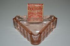 "Vintage Pink Ashtray Mid Century 4"" Glass Triangle Hollywood Matchbox Holder"