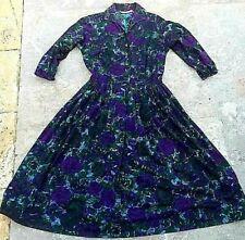 1950s vintage dress shirtwaist flannel blue purple rose print Xs Joan Del floral