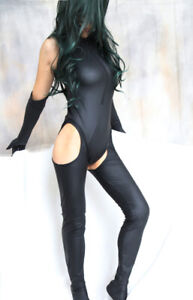 Sexy Catsuit Style Fetishwear with Gloves- Black Elastane