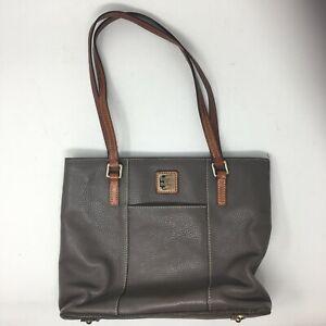 Dooney & Bourke Women Medium Casual Double Handles Tote Bag Grey Leather Top Zip