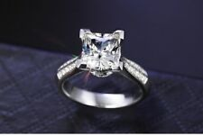 2 Ct Stunning Perfect Princess Cut Solid 925 Sterling Silver Ring Size N1/2