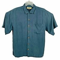 Tommy Bahama Washable Silk Button Down Up Shirt Beige Blue Mens Size Medium M