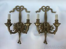 Pair of Large Ornate Brass Wall Sconces Sconce