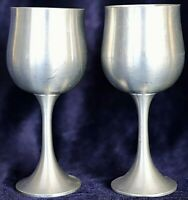 Vintage Retro Tulip Shaped Oriental Pewter Malaysia Wine Water Goblets 2