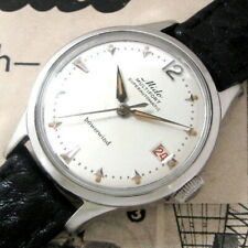 Mens MINT 1958 Mido Multifort SUPER AUTOMATIC Swiss RED Date S/S Powerwind Watch