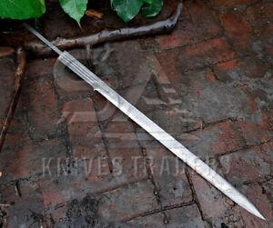 "Custom Handmade Damascus Sword 38"" Damascus Steel Hunting Sword Blank Blade"