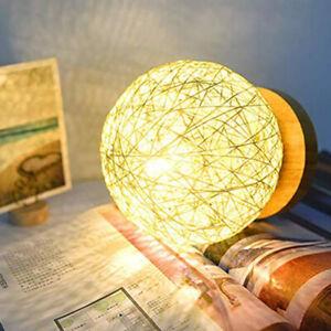 Wooden Rattan LED Table Desk Bedside Night Light Lamp Home Room Decor Warm-