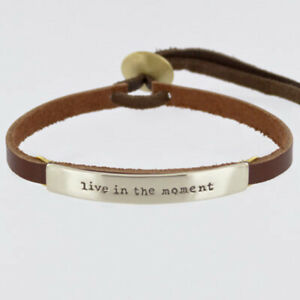 Far Fetched LIVE IN THE MOMENT Silver BRACELET on Sienna Leather Jewelry BA-113