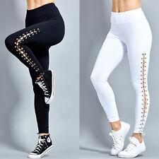 Damen Bandage Leggings Sporthose Yoga Gym Fitnesshose Sport Jogginghose Leggins