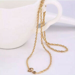 """9ct 9K Yellow """"Gold Filled"""" Ladies Girl Water Wave Necklace Chain All Sizes Uk"""
