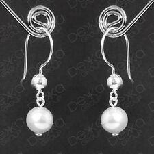 Genuine 925 Sterling Silver Ball & White Swarovski Pearl Drop Dangle Earrings