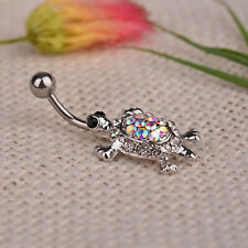 Sexy Navel Piercing Body Jewelry Crystal Plated Turtle Dangle Belly Bar Ring UKK