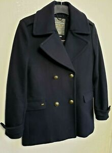 # SUPERDRY MENS PEA TRENCH COAT S NAVY BLUE DOUBLE BREASTED 70% WOOL 963