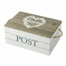 Love Post Box Vintage Wooden Storage With Rope Handles Wedding Gift