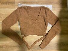 SKIMS Cozy Knit Wrap Top in Camel color