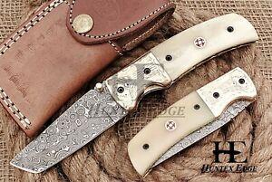 HUNTEX Custom Handmade Damascus 110mm Long CamelBon Hunting Folding Pocket Knife