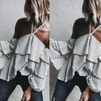 Summer Women's Ladies Casual Off Shoulder Tank Bodycon Blouses Crop Tops Shirt