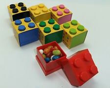 LEGO LUNCH/STORAGE MINI BOX 4 FOR SMALL SNACKS 9 COLOURS CHECK SIZE