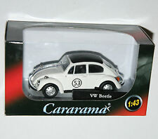 Cararama - VW Volkswagen BEETLE (White + #53 Herbie Decals) Model Scale 1:43