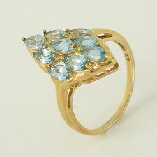 Schöner Ring in 375 Gelbgold 9K mit 9 Aquamarin Edelsteinen NEU Gr. 54