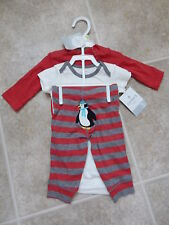 Carter's baby boy's 3-pc Christmas holidays outfit red/penguins New NWT 3 m