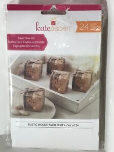 """Kate Aspen Rustic Wood Favor Boxes Set Of 24.  2"""" Square.  Brand New!!"""