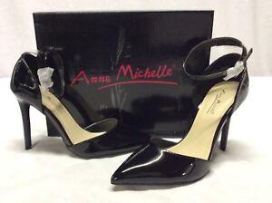 Anne Michelle Rise Women's Point Toe Pump Shoes, Black, Size 8 M Eur 38