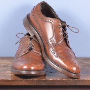 Vintage 90s Florsheim Royal Imperial Tan Plain Toe Blucher Shoes 9D