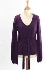Pure Womens Aubergine Cashmere Button Trim Belted Jumper Size 12