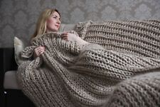 5 strands Premium Longhair Mohair Plaid Blanket Bedspread hand knit Beige