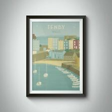 More details for tenby south wales travel poster - framed - vintage - bucket list prints