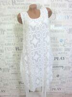 Sommerkleid Hängerchen Tunika Kleid SPITZE HÄKEL Lagenlook 42 44 46 Weiß E576
