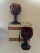 Avon Vintage Cape Cod 1876 Ruby Red Cranberry Glass Wine Goblet Set Mint W/ Box