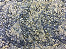 Blue Feathered Marble Feather Wing Design w/ Metallic Gold Dust Fabric BTHY