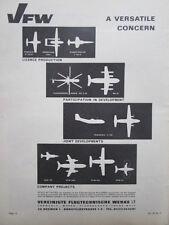 11/1964 PUB VFW BREMEN PIAGGIO NORATLAS TRANSALL VAK 191 SPACE ERNO ORIGINAL AD