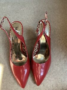 Cherry Red Sling Back Shoes Size 7 BN