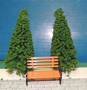 Park Bench w/Trees Miniature 1:24 (G) Scale Diorama L@@K !