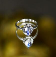 Noble Joya Hermosa Natural Piedra Lunar 925 Sterling Silver Ring