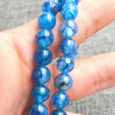 """AAA new 8mm Blue Dragon Veins Agate Round Loose Bead 15"""""""