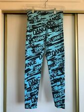 """Justice, Girl's Leggings, Turquoise and Black, """"Dance"""" Size 14"""
