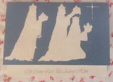 Vintage Mid Century Unused Embossed Xmas Greeting Card 3 Kings Wise Men