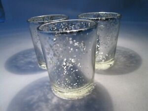 3 x Glitzy Silver Speckled Glass Tealight Holders. 6.5cm high.