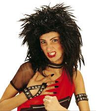 BIG BLACK SPIKY PUNK ROCK WIG 80s POP MENS LADIES FANCY DRESS COSTUME PARTY NEW
