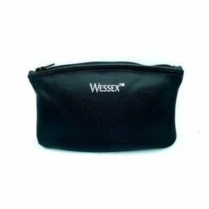 """Wessex Black Leather Zipper 6"""" Tobacco Pouch - 7710"""