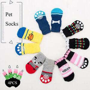 4pcs Warm Puppy Dog Shoes Soft Pet Knits Socks Cute Cartoon Anti Slip Skid Socks