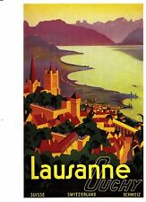 Postcard Swiss Travel Poster Lausanne - Ouchy 1937 Photoglob 1827